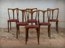 Sedia modernariato ripiano bordeaux
