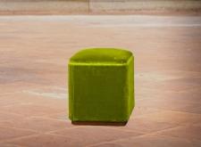 Pouf cubico velluto verde mela