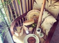 Poltrona in velluto fantasia bambù