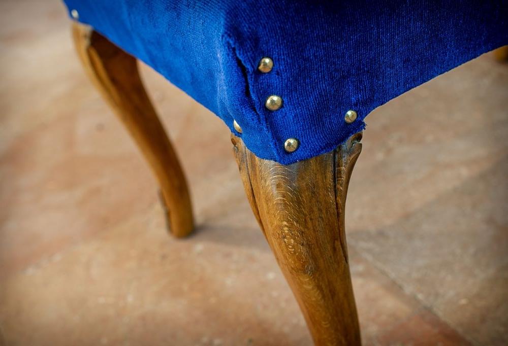 Pouf velluto blu